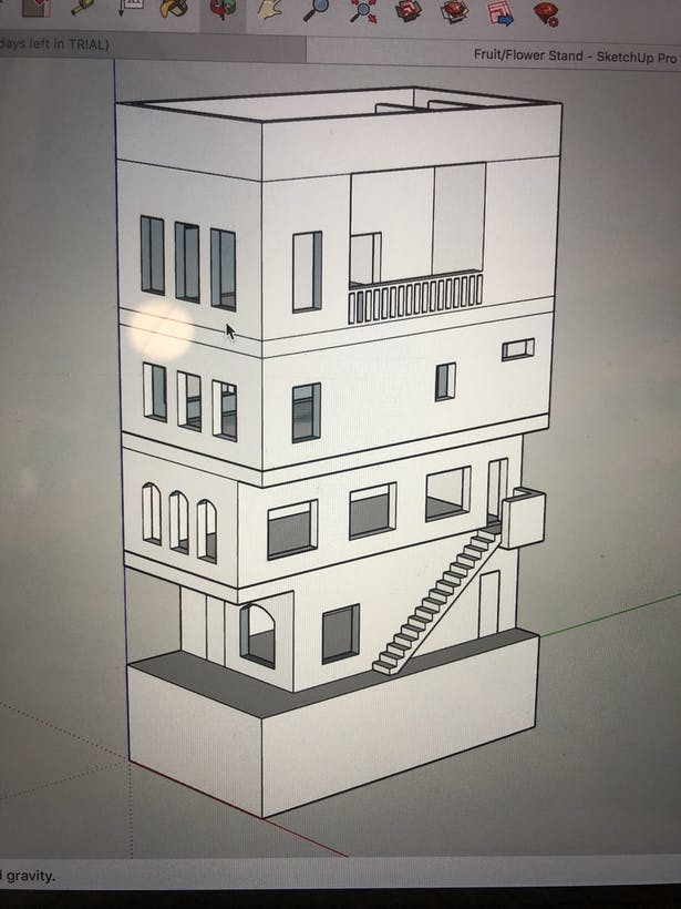 3D building model creating using SketchUp.