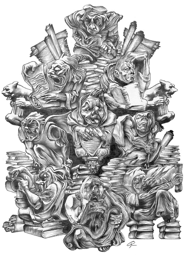 Pencil illustration of 'wise men' seeking knowledge.