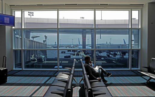 Tintable 'smart glass' installed at a gate at DFW. Image: View Dynamic Glass, via bloomberg.com.