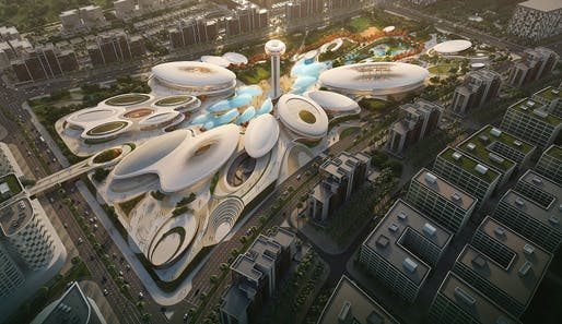 Aljada Central Hub in Sharjah by Zaha Hadid Architects. Rendering: VA.