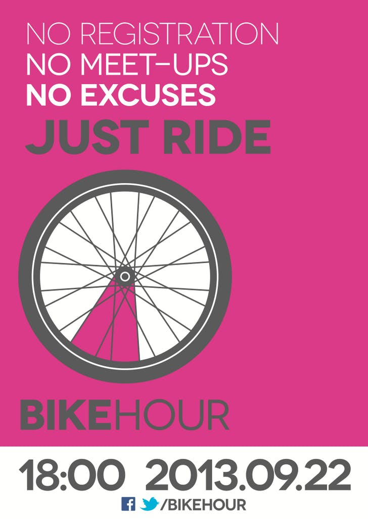 Advert for Fleming's 2013 'Bike Hour' awareness event, encouraging people to simply take a ride, wherever they are. Image via http://iwanttoridemy.blogspot.com/2013/08/2013-bike-hour-ii-bikening.html