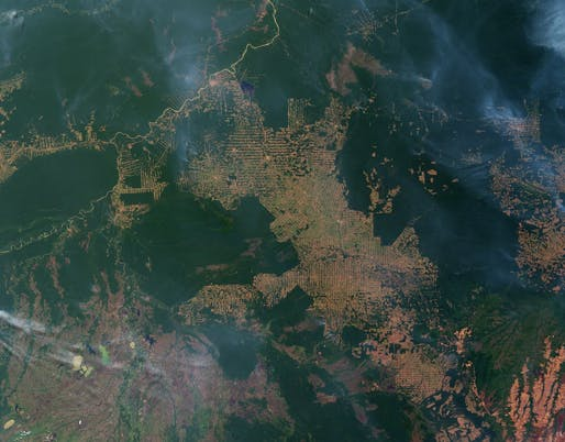View of deforestation over the Brazilian state of Rondônia, Image courtesy Jesse Allen and Robert Simmon, NASA Earth Observatory.
