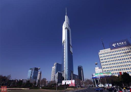 The supertall shadowmaker, Zifeng Tower in Nanjing. (Image via shanghaiist.com)