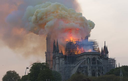 Notre Dame Cathedral on fire in the evening hours of April 15, 2019. Image: Godefroy Troude/Wikipedia.