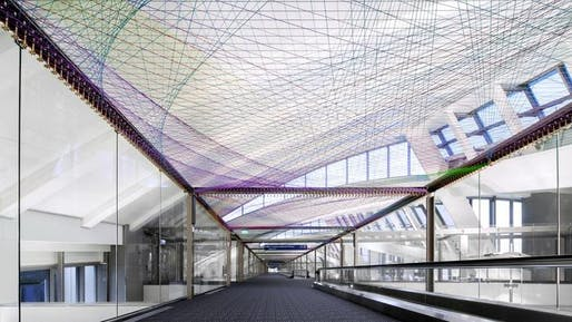 The installation 'ΣLAX' by artist Pae White is one of three public art commissions recently unveiled to the public at Los Angeles International Airport. (Image: PanicStudio L.A.; via latimes.com)