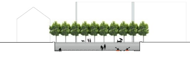 Section elevation, waterfront use at walkway/ampitheatre.