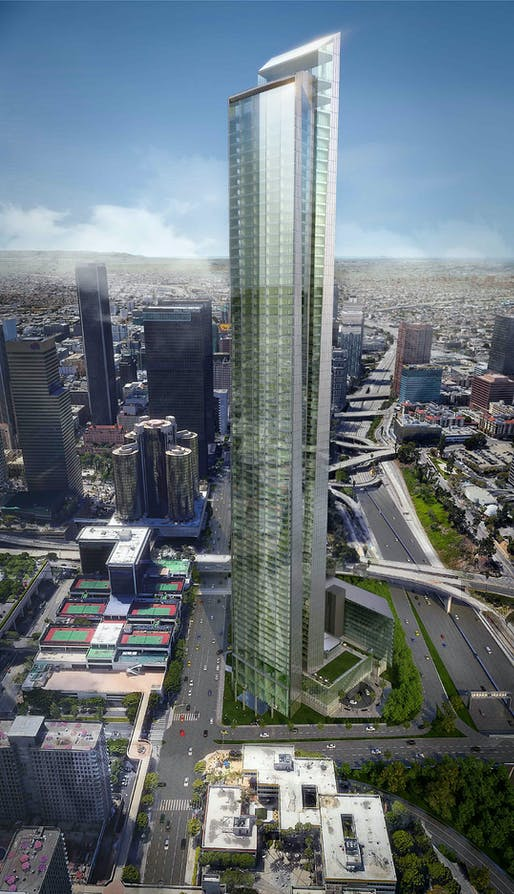 View of the proposed supertall Downtown LA tower at 333 South Figueroa Street. Image: DiMarzio | Kato Architecture