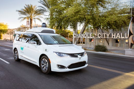 Pictured: a Waymo self-driving Chrysler Pacifica Hybrid minivan cruising the streets of Chandler, a suburb of Phoenix, AZ. Image: Waymo.