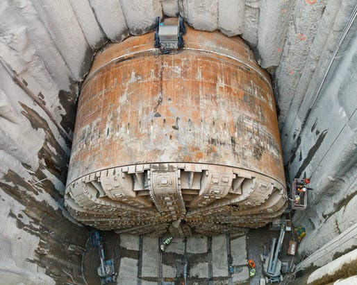 Bertha's 57-foot-diameter drill head in 2015. Photo: Washington State Department of Transportation/Flickr