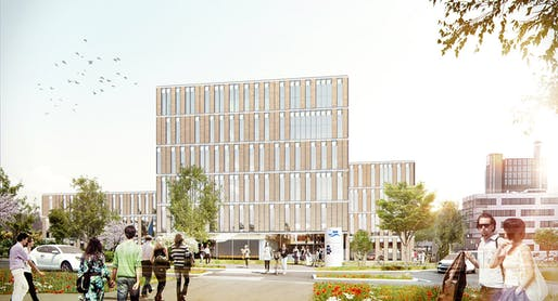 Exterior rendering of the new Center for Solar Energy and Hydrogen Research building in Stuttgart (Image: Henning Larsen Architects)