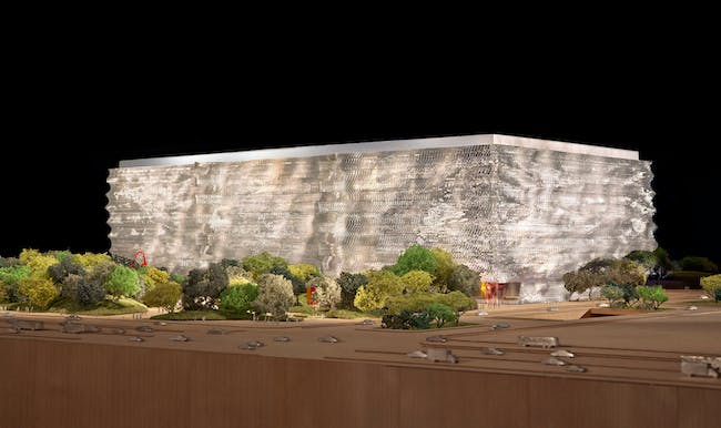 View from northeast - landscaped garden elevation (Image courtesy of Gehry Partners)