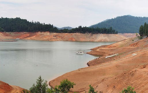 Drought-stricken Lake Shasta in Northern California, July 2014. (Image via drought.ca.gov)