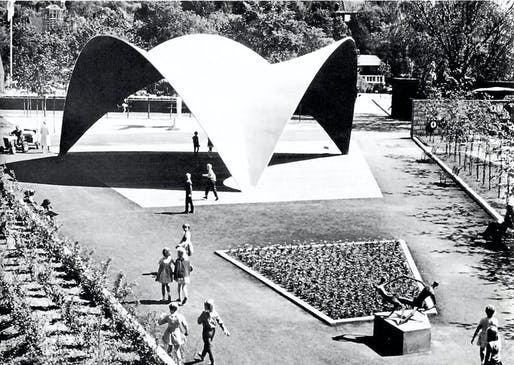 Concrete roof shell in Botanical Garden by Félix Candela, located in Oslo, Norway. 1962. Image: Gallery 400.