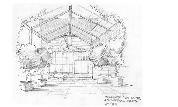 Sketch of entry court and orangery