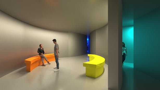 A wide, round space with bright lighting providing relief and opportunities for interaction