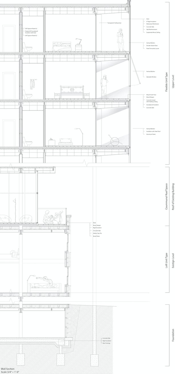 Wall section - shows the unitized curtain wall facade system.