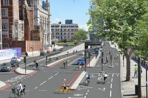 Rendering of what was just announced to become 'Europe's longest segregated urban cycle lane through central London.' (Image via standard.co.uk)