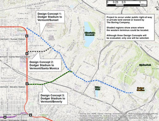 Proposed alignments for the Dodger Stadium tunnel. Image: The Boring Company.