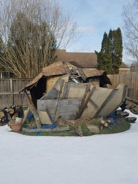 removal of demolished shed...