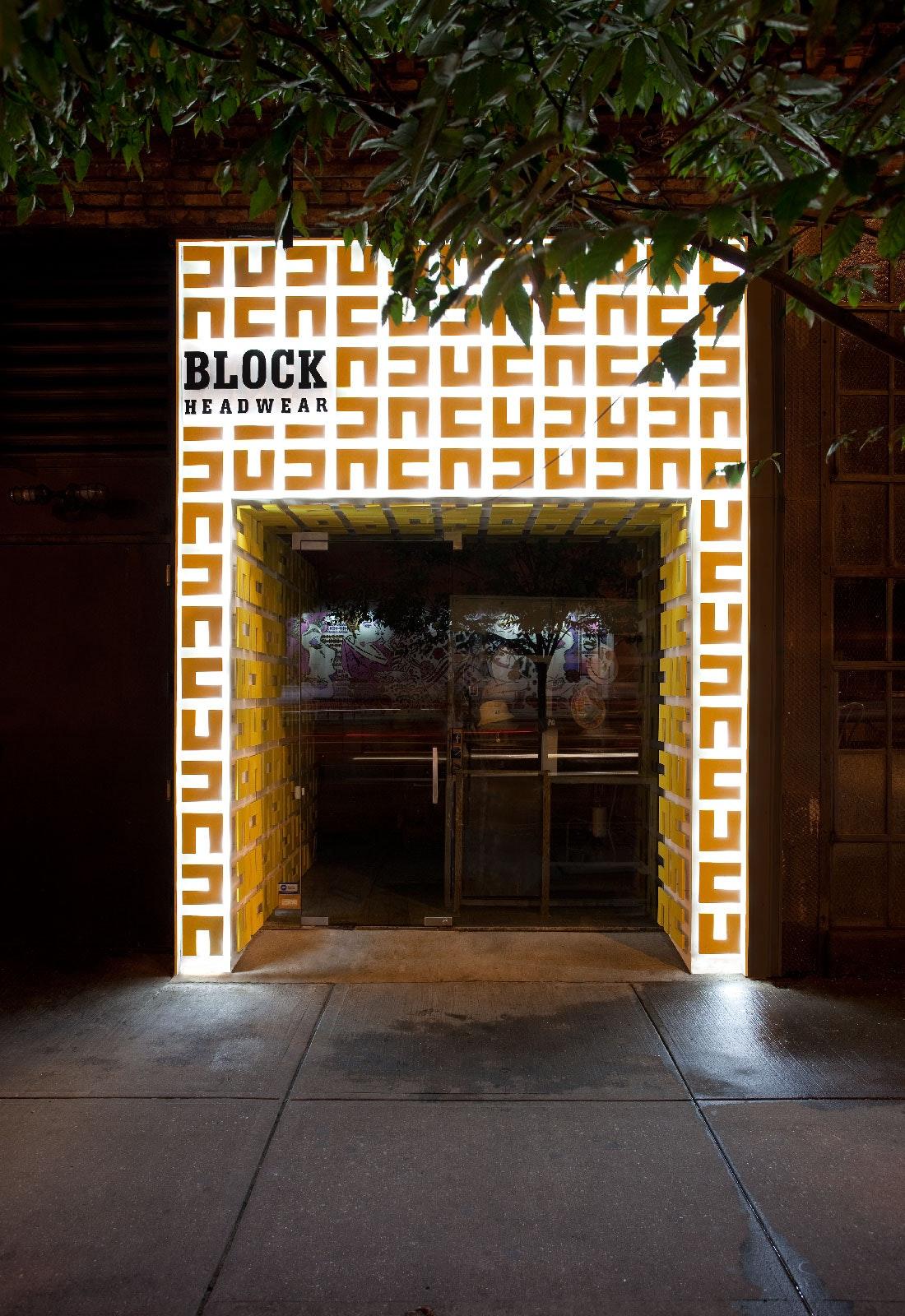block headwear retail storefront design