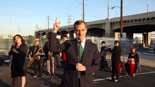 """So on Friday night ... the 101 Freeway east of downtown will take a break for 40 hours of R&R ... and R&B."" – Los Angeles mayor Eric Garcetti, with support from Roosevelt High's jazz band, breaks the news of an impending traffic nightmare to his fellow Angelenos very, very softly."