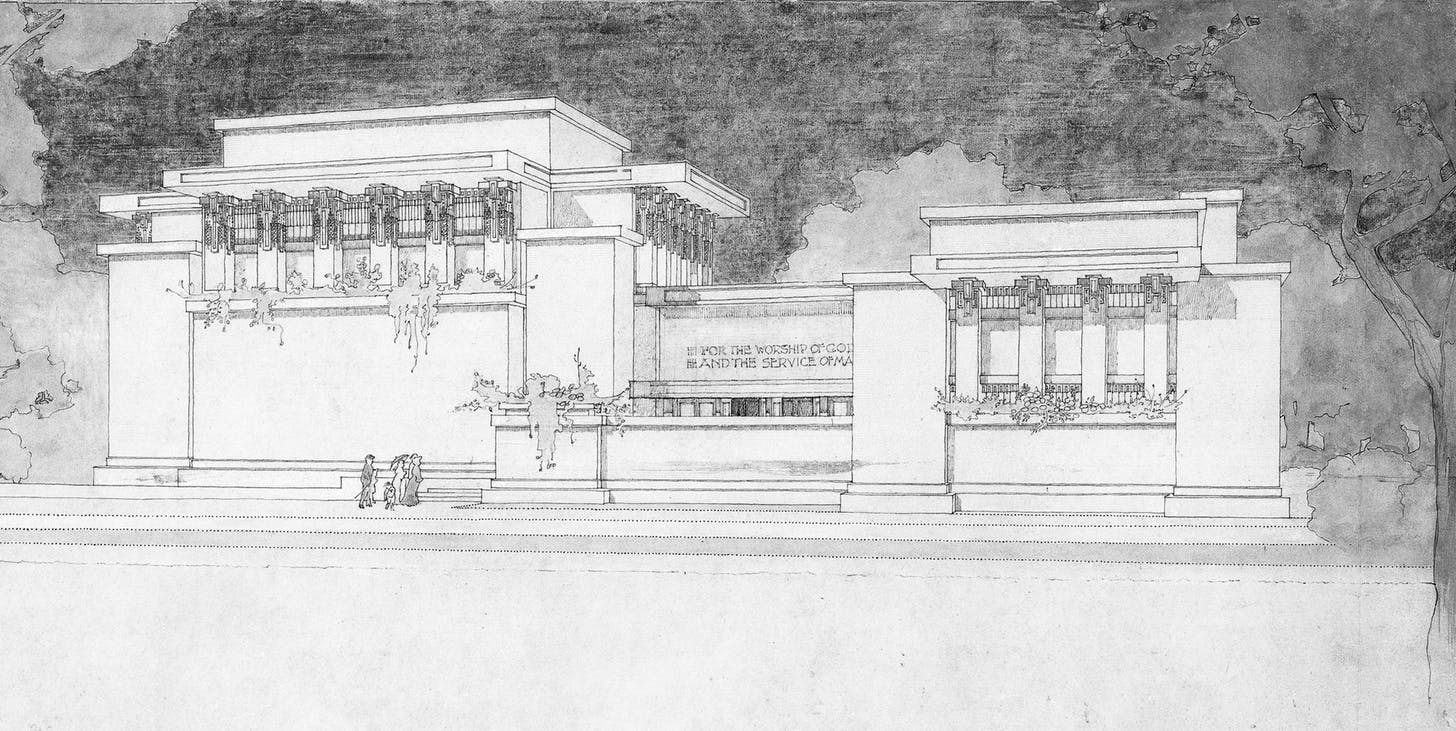 Image C Frank Lloyd Wright Unity Temple Oak Park Illinois Rendering In Watercolour And Ink Drawn By Marion Mahony Griffin 1905