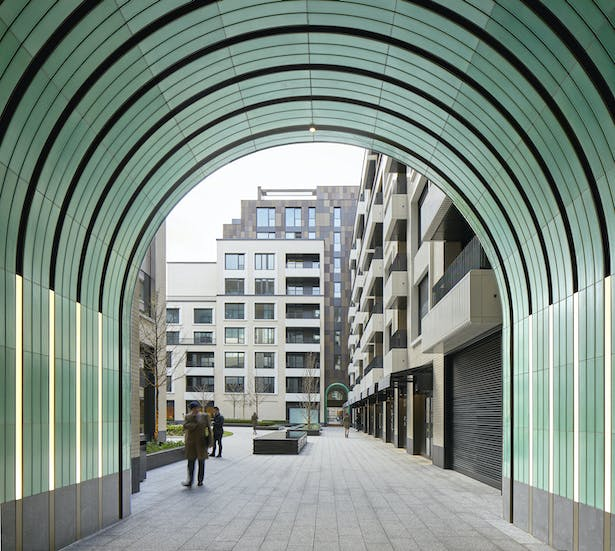 Discover the garden through the jade green ceramic passageway (c)Make Architects