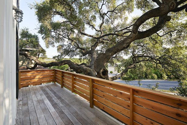 A view from the balcony of House 1 looking onto a tree that was already well-established by the time of the American Revolutionary War. We took great care to preserve the tree's roots and placed each pier of this house's foundation one by one.