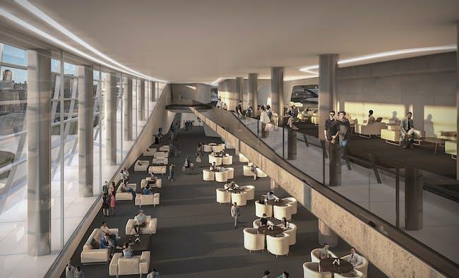 Premium Lounge. Render © Zaha Hadid Architects.