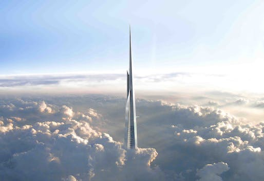 When completed in 2018, Jeddah's Kingdom Tower will stand at least 1 kilometer/3,281 ft tall (the final height is till kept confidential).