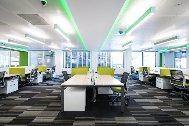 Lighting reflects the company's distinctive colour identity.