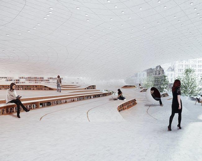 NEXT LA - MERIT: Daegu Gosan Public Library by Synthesis Design + Architecture in Daegu, Korea. . Photo courtesy of AIA LA Design Awards 2014.