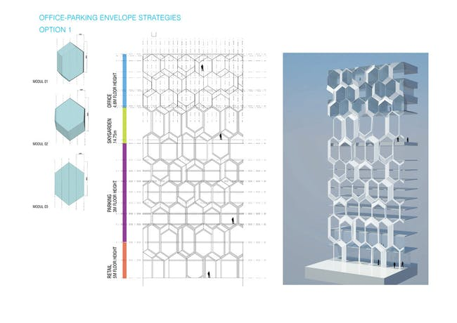 Concept diagram, office/parking envelope strategies (Image: UNStudio)
