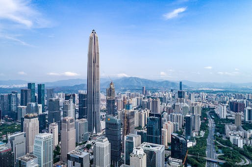 At 599 meters tall, the KPF-designed Ping An Finance Center in Shenzhen is the tallest building completed in 2017. Photo: Tim Griffith for KPF.
