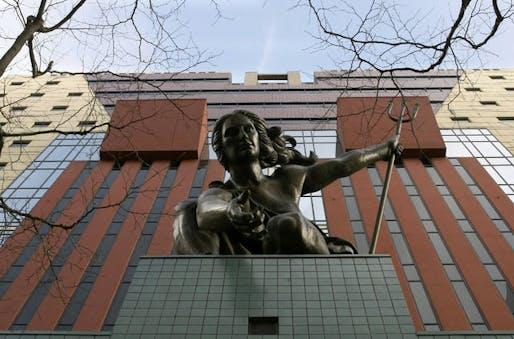 Portlandia statue outside of Michael Graves' Portland Building. Image via The Oregonian.