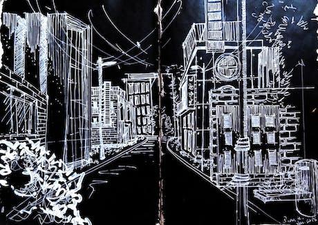 Architecture Illustration _White on Black