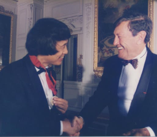 Tadao Ando receiving the 1995 Pritzker Prize from Jay A. Pritzker. Photo via Forbes.