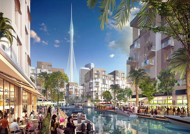 Rendering of the Calatrava-designed Observation Tower at the Dubai Creek Harbor development. (Credit: Emaar Properties)