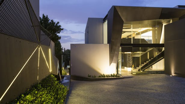 Very modern entrance to the house
