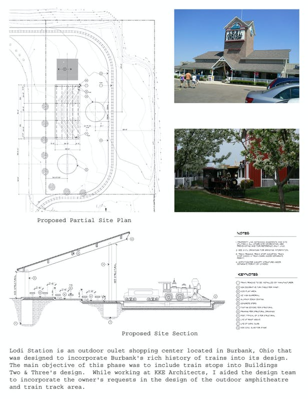 Proposed partial site plan and site section
