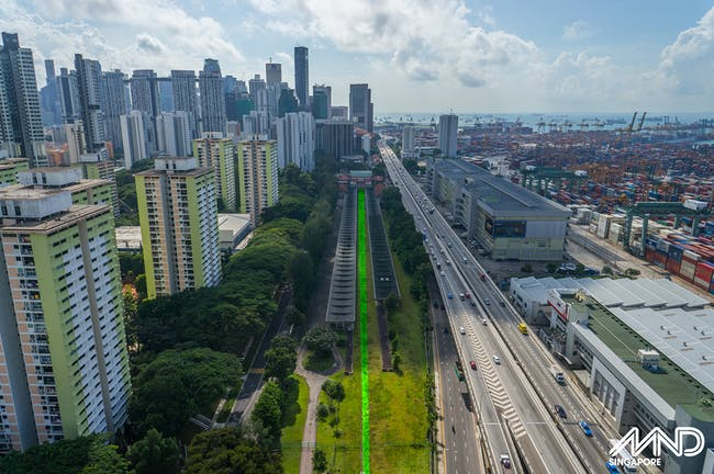 Aerial view of former Tanjong Pagar Railway Station (Rail Corridor marked) © Ministry of National Development