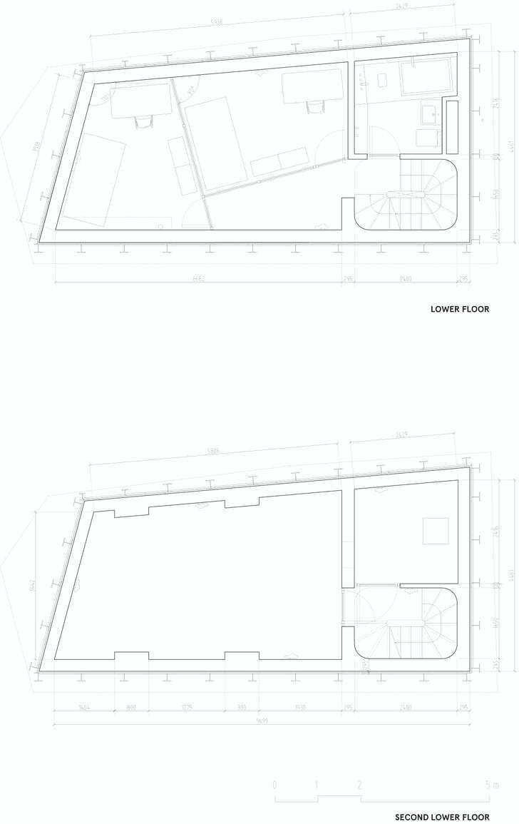 Floor plan -2 & -1, courtesy of Wiel Arets Architects (WAA)