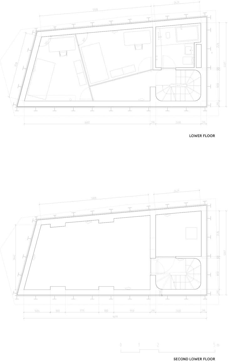 Floor plan -2 & -1, courtesy of Wiel Arets Architects (WAA)