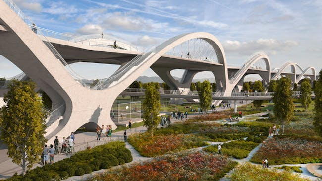 The winning design for a new 6th Street bridge, to be completed by 2019. (HNTB_Michael Maltzan Architecture_AC Martin Partners)