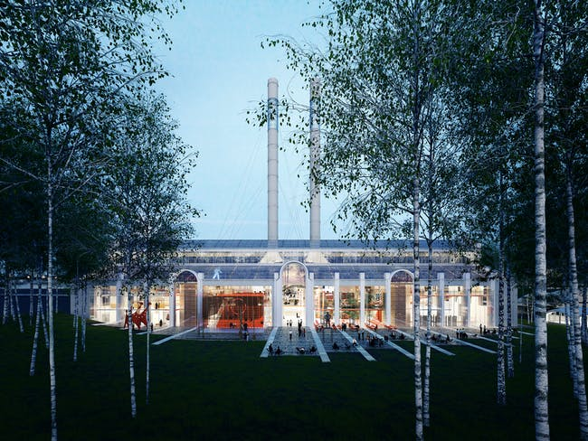 Rendering View of the Building from the Birch Forest (via RPBW 2015)