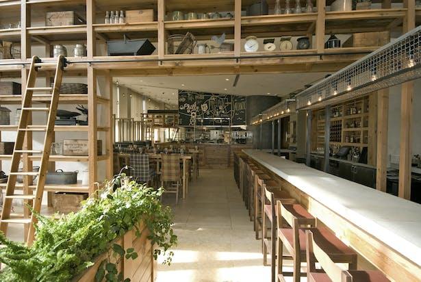 display shelves and bar