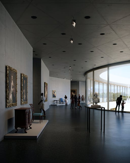 Core gallery render of David Geffen Galleries. Image © ATELIER PETER ZUMTHOR & PARTNER/THE BOUNDARY