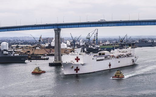 The USNS Mercy, shown here in San Diego, is heading to San Francisco, where it will be used as a floating hospital for treating COVID-19 patients. Image courtesy of United States Navy / MC3 Christopher Veloicaza / NPASE West.
