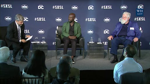 LACMA director Michael Govan in conversation with architect David Adjaye and artist James Turrell at the White House's South by South Lawn (SXSL) arts and culture festival. (Image via thecreatorsproject.vice.com)