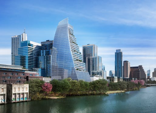 Towers like Pelli Clarke Pelli's Block 185 tower are reshaping Austin's skyline. Image courtesy of Pelli Clarke Pelli Architects / STG Design / Trammell Crow Company.